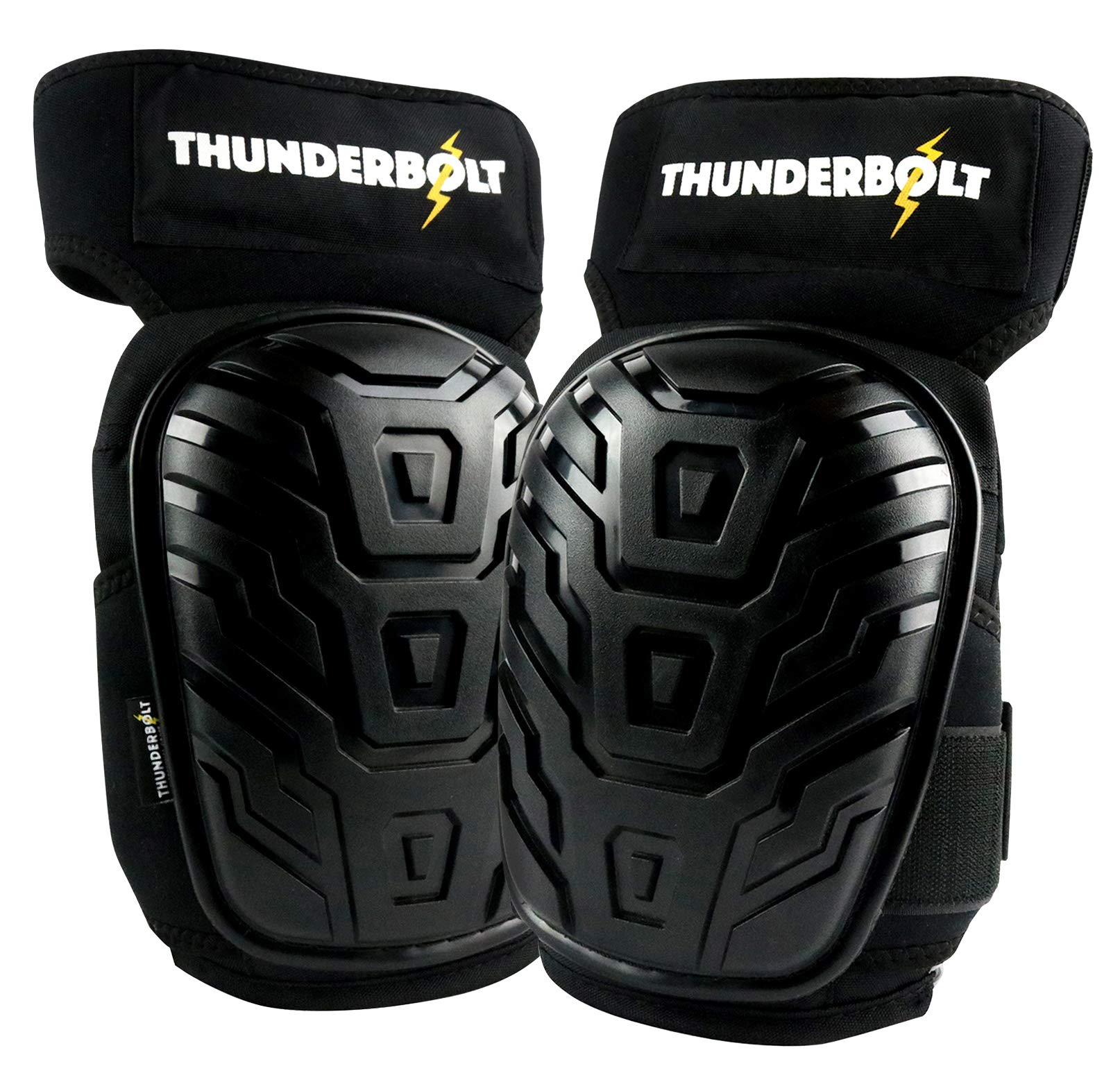 Professional Knee Pads for Work by Thunderbolt with Heavy Duty Foam Cushioning and Gel Cushion Perfect for Construction, Flooring and Gardening with Adjustable Non-Slip Straps