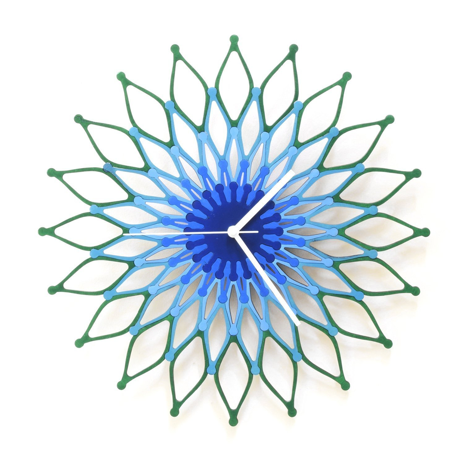 Peacock - 41cm (16) / 59cm (23½) Large Handmade Wooden Wall Clock, Sunburst Clock, a Piece of Wall Art by ardeola