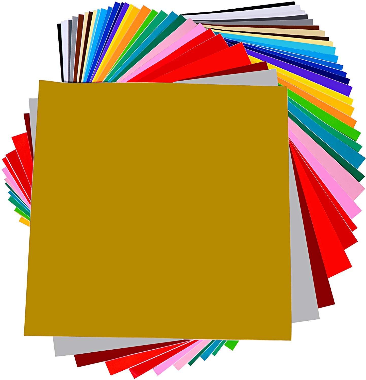 Micup Adhesive Vinyl Sheets - 40 Sheets 12'' X 12'' Premium Permanent Self Adhesive Vinyl Sheets