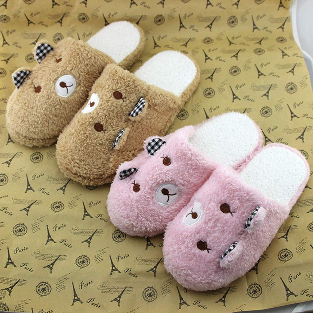 Lovely Bear Home Slippers Floor Soft Cotton-Padded Women Kids Arch Support Non-Slip Winter Indoor Bedroom Couple Shoes