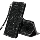 LK Galaxy S9 Case,[Wrist Strap] Luxury Glitter Sparkle PU Leather Wallet Protective Case Cover with Card Slots and Stand for Samsung Galaxy S9 (Black Bling)