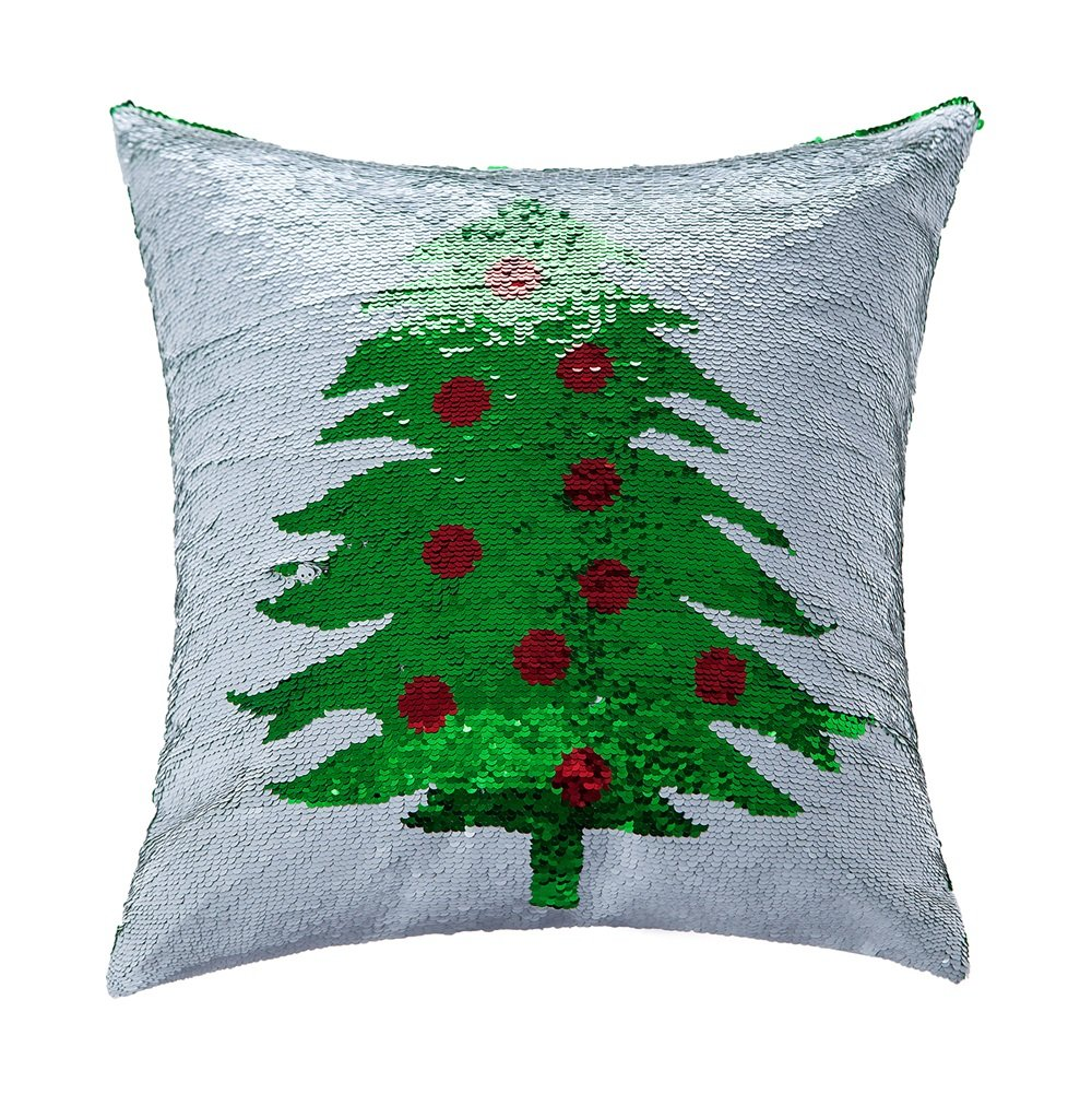 Amazon.com: Homecy Reversible Sequins Pillow Cover Christmas Tree ...
