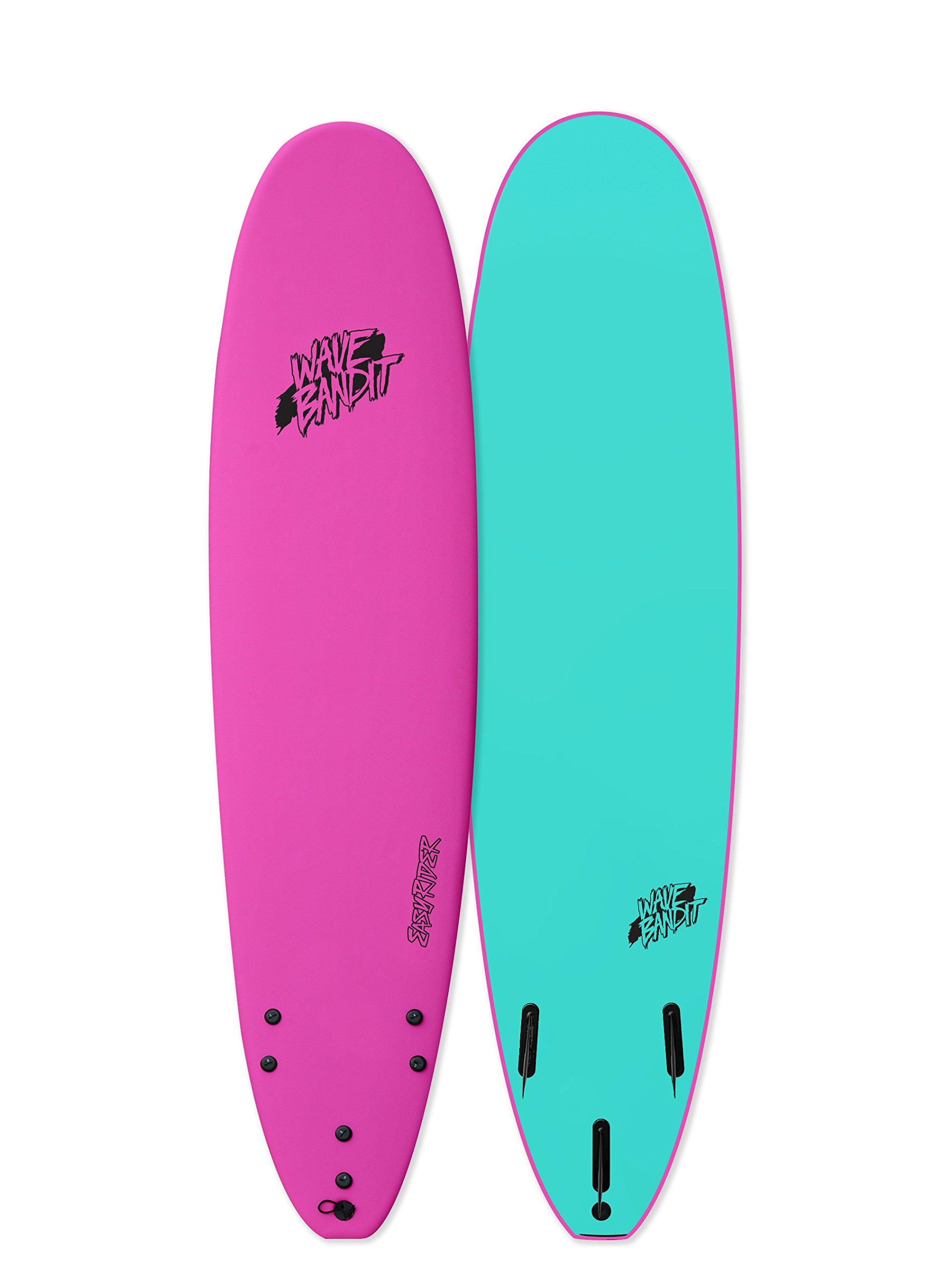 Wave Bandit Catch Surf EZ Rider 8'0'' Short Surf Board, Neon Pink by Wave Bandit