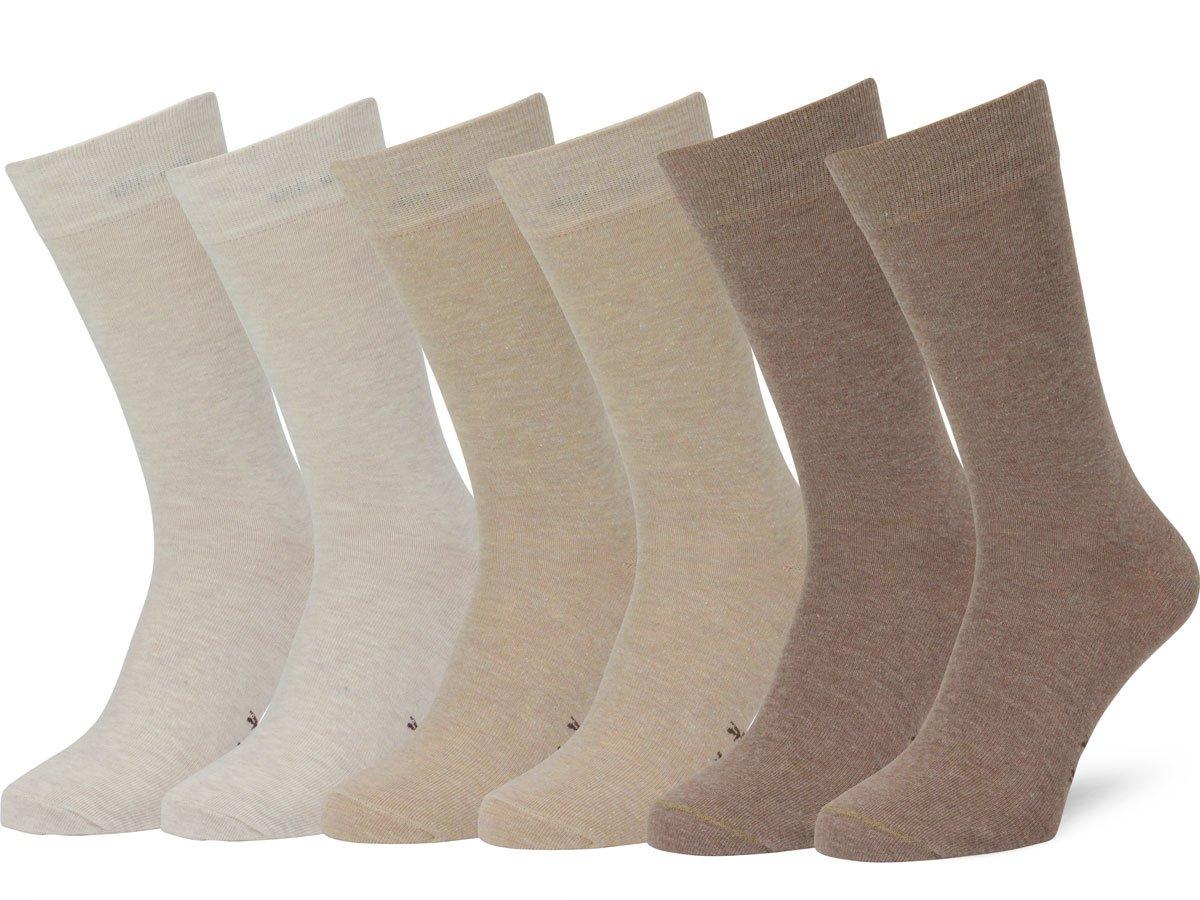 Easton Marlowe Men's Classic Cotton Solid Color Dress/Crew Socks - 6pk #3-5, Wheat, Sand, Taupe, Solid, Flat Knit - 43-46 EU shoe size