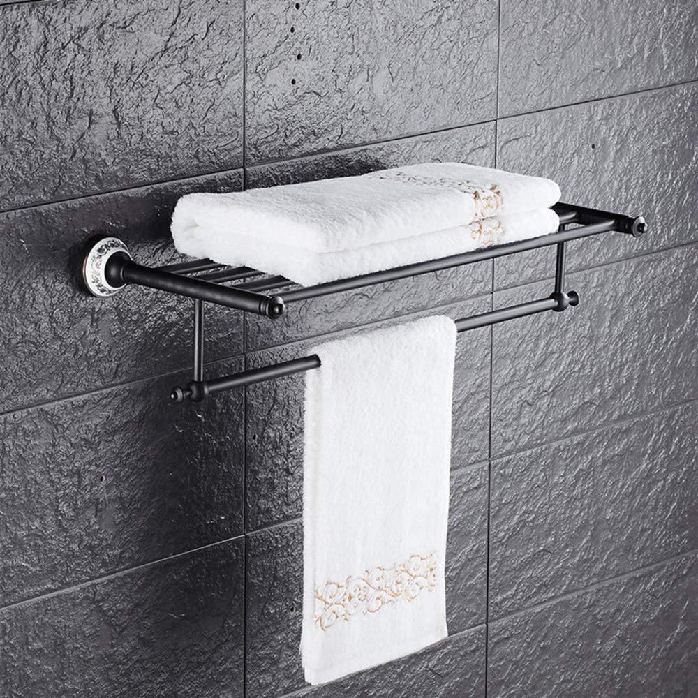 ETH Black Ancient Towel Rack Blue and White Porcelain Towel Rack Full Copper European Retro Bathroom Shelf Bathroom Hardware Pendant Towel Bar Durable by ETH