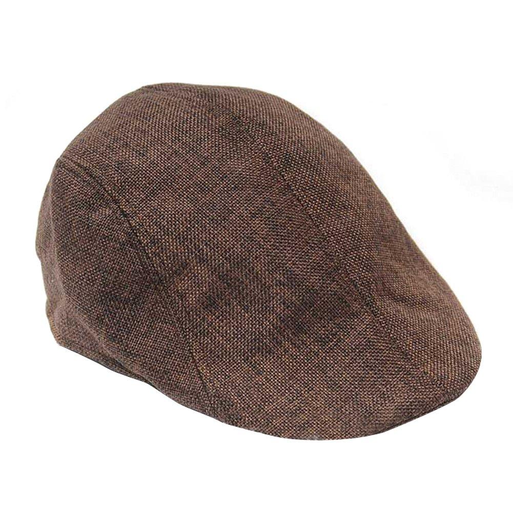 TININNA Unisex Newsboy Flat Cap Gatsby Caps Fashion British Style Peaked Cap Baseball Hat for Women Men Brown