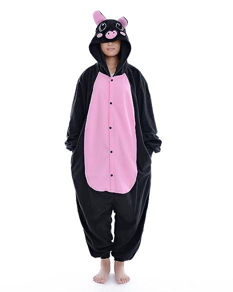 DAYAN Cerdo Unisex Pijamas Adulto Anime Cosplay Ropa Pijamas Franela Hombre Mujer Dormir Animal Pyjama Caliente