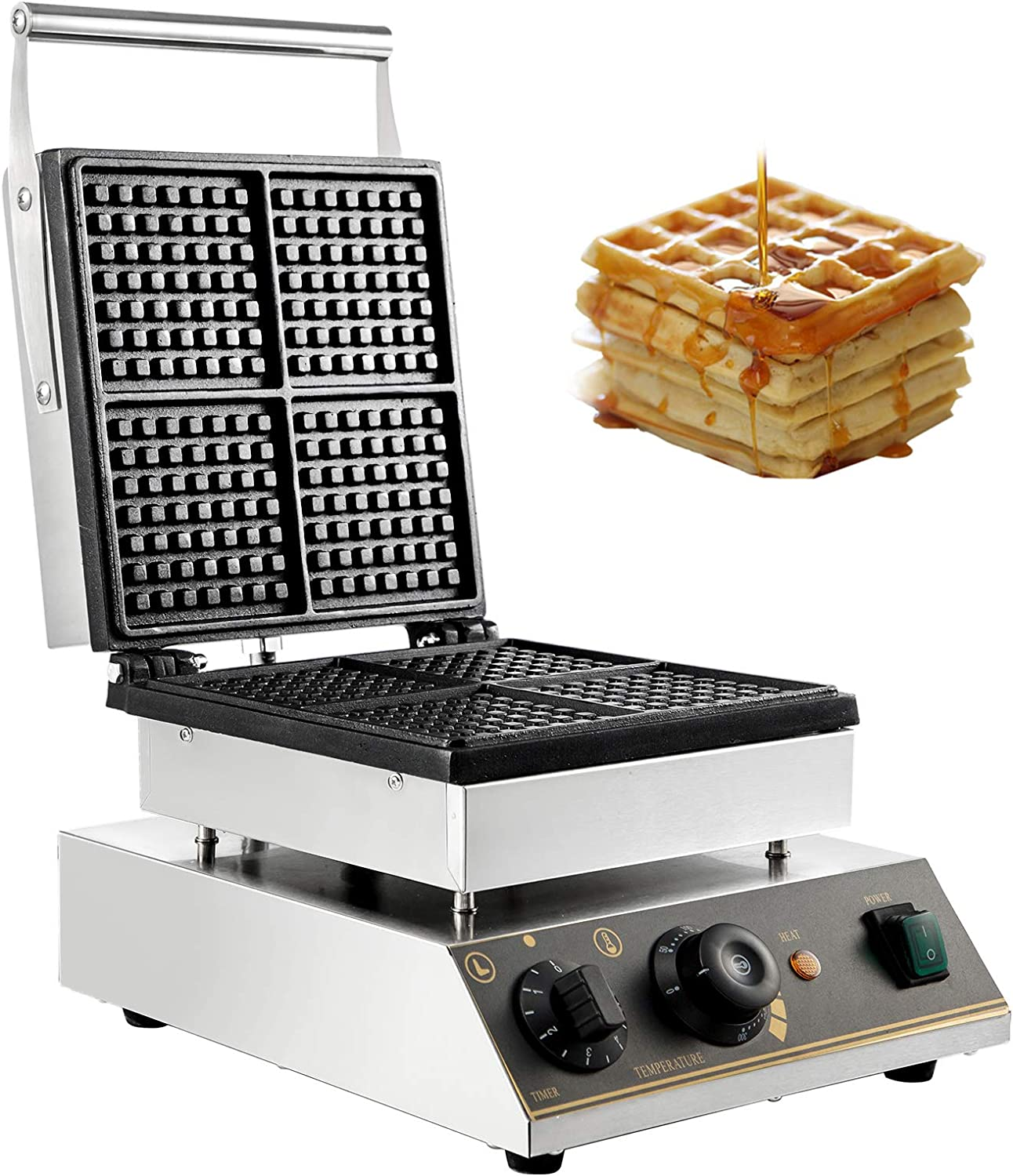 VBENLEM 110V Commercial Waffle Maker 4Pcs Nonstick 2000W Electric Waffle Machine Stainless Steel 110V Temperature and Time Control Rectangle Belgian Waffle Maker Suitable for Bakeries Snack Bar Family