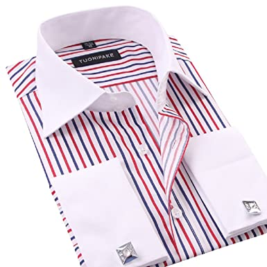 Designer Striped Shirts | Sweattang Mens Double Cuff Striped Formal Dress Italian Designer