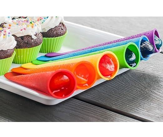 wolecok silicona Ice Pop Maker moldes, paleta moldes sin BPA, 6 unidades color mezclado con adjunta tapa Popsicle Mold: Amazon.es: Hogar