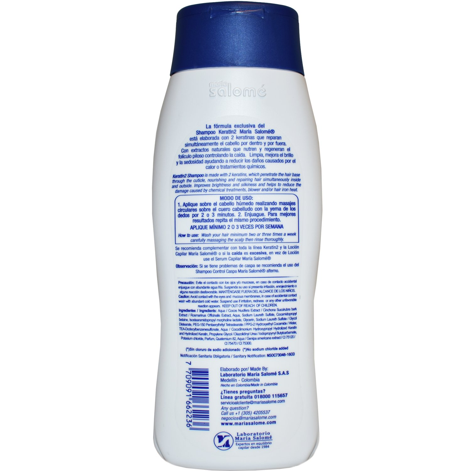 Maria Salome Shampoo Keratin2 Salt Freel/ Sin Sal 400 Ml/ New Product