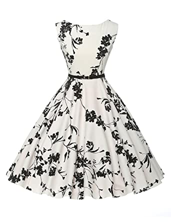 Classy Vintage 1950s Audrey Hepburn Style Rockabilly Swing Picnic Party Prom Dress X-Large