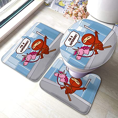 Kkyoxdiy Bath Mat 3 Piece Set Absorbent Carpet Red Ninja ...
