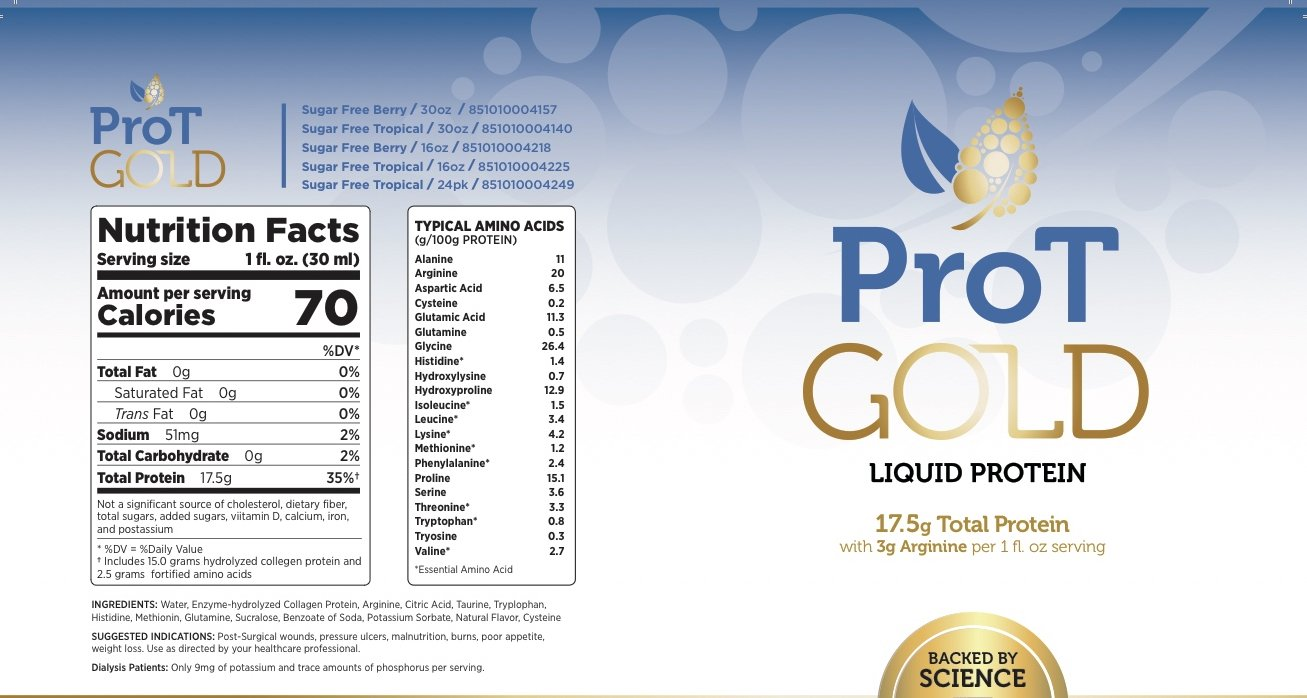 ProT GOLD - Berry Sugar Free Liquid Protein Shot - 16oz Bottle with 16 1oz Servings - Anti Aging Liquid Collagen. A Clinically Proven Nano Hydrolyzed Protein Used in Over 3000 Medical Facilities by ProT Gold