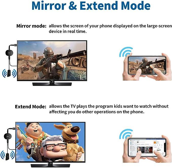 ARMYU WiFi Display Dongle, Wireless HDMI Adaptador Streaming Transmisión 1080P WiFi Display Mini Aparato Receptor Soporte Miracast Airplay DLNA para ...