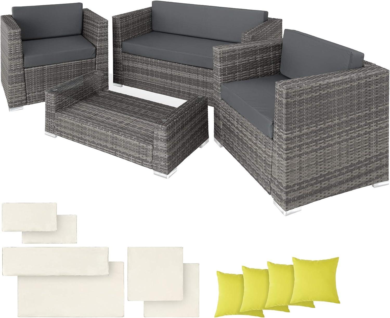 Marron varios colores disponibles 2 conjuntos de fundas Conjunto de muebles de jard/ín en aluminio y resina trenzada polirrat/án 40 protecci/ón para la lluvia y tornillo de acero inoxidable 8/sillas No incluye mesa TecTake
