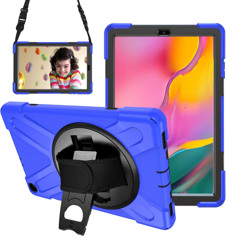 Gerutek Funda Antica/ída para Samsung Galaxy Tab A 10.1 2019 SM-T510//SM-T515 Correa de Mano//Hombro Funda Antichoque para Galaxy Tab A Tablet 10.1 2019 Carcasa Rugosa con Soporte Rotaci/ón Azul