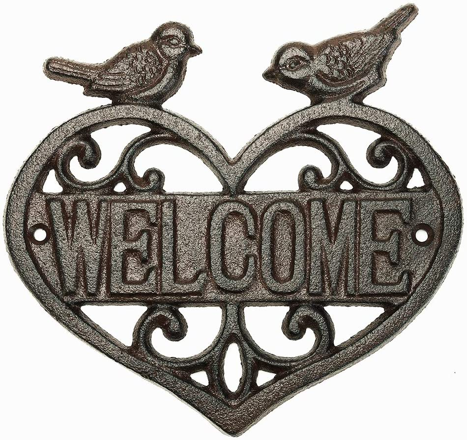 Sungmor Vintage Cast Iron Heart Shape Wall Mount Welcome Sign | Wall Decor Welcome Tag | House Plaque Garden Bar Cafe Store Gate Door Sign Wall Mount Decoration