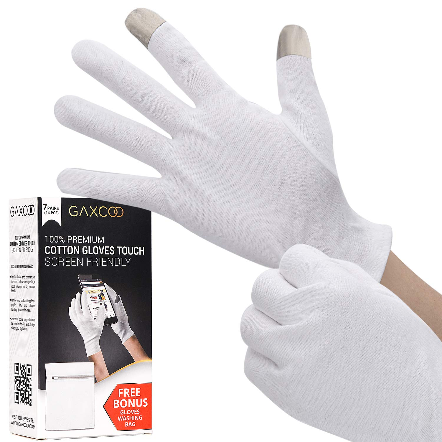Touch Screen Friendly Moisturizing Gloves OverNight Bedtime Cotton Cosmetic Inspection Premium Cloth Quality Eczema Dry Sensitive Irritated Skin Spa Therapy Secure Wristband : Beauty