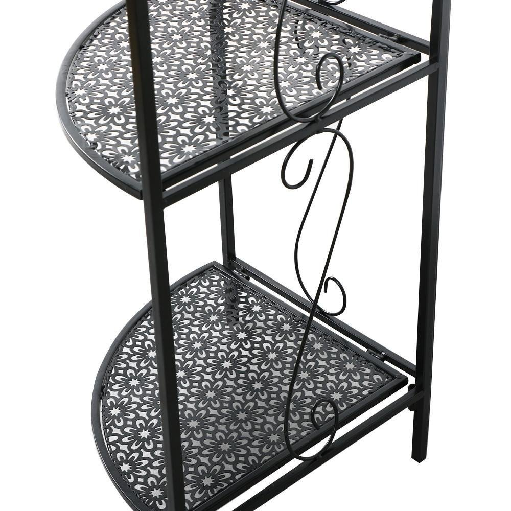 Topeakmart 4 Tier Metal Art Corner Storage Display Shelves Free Standing Bathroom Corner Shelf Rack Kitchen Shelving Unit,Black