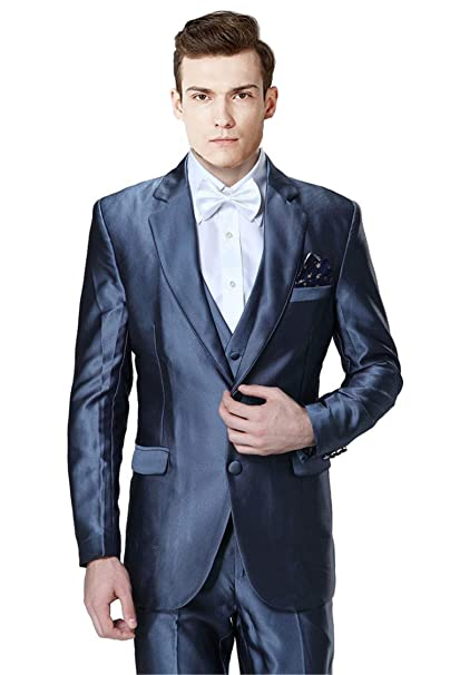 MYS Mens Custom Made Groomsman Shiny 2 Button Suit Vest ...