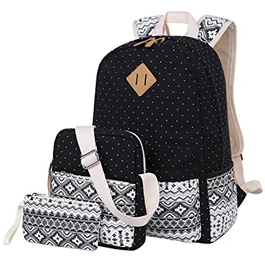 Amazon.com: Canvas Backpack Cute School Backpack Casual Bookbags ...