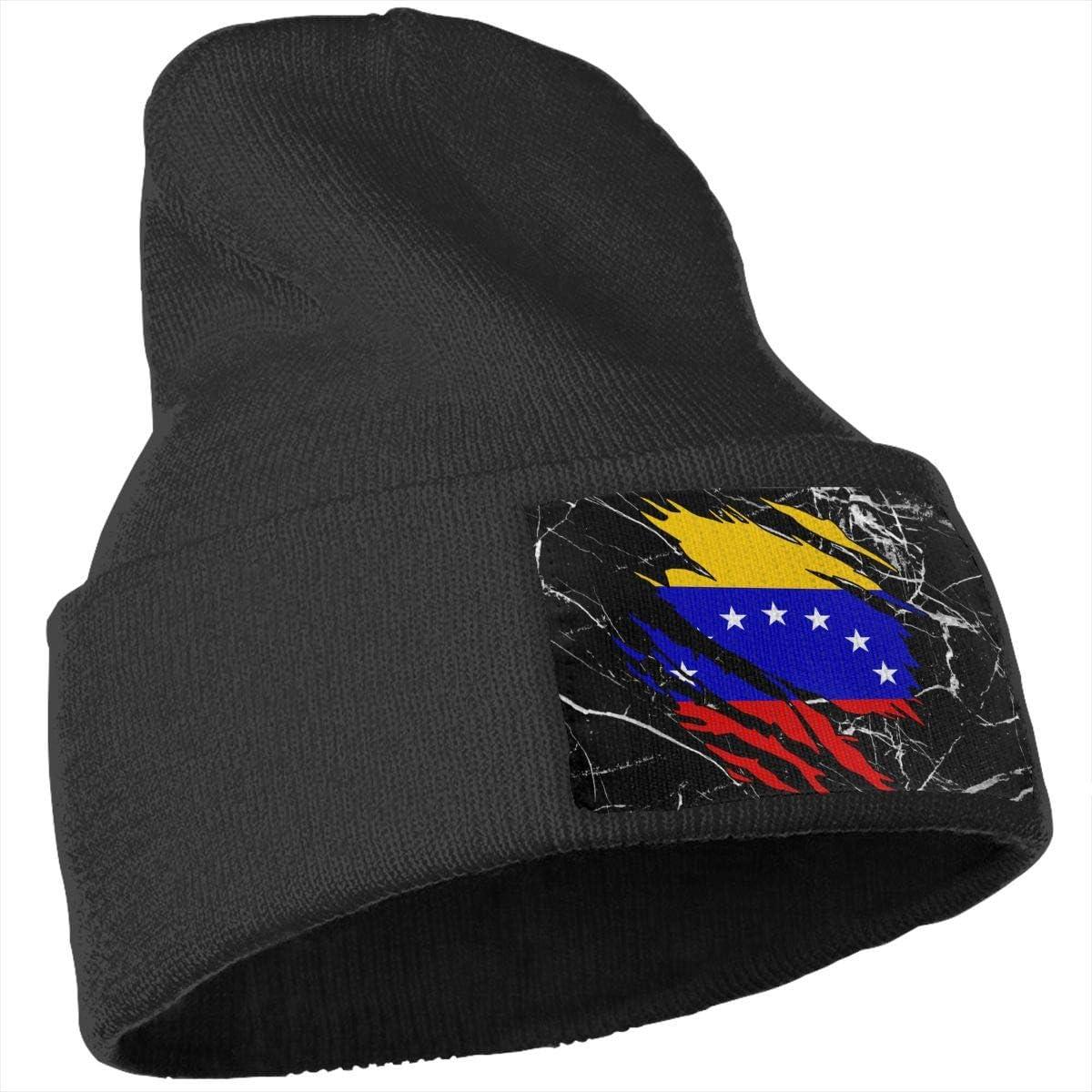 Ripped Venezuela Flag Men Womens Solid Color Knit Beanie Hat Stretchy /& Soft Winter Ski Knit Cap