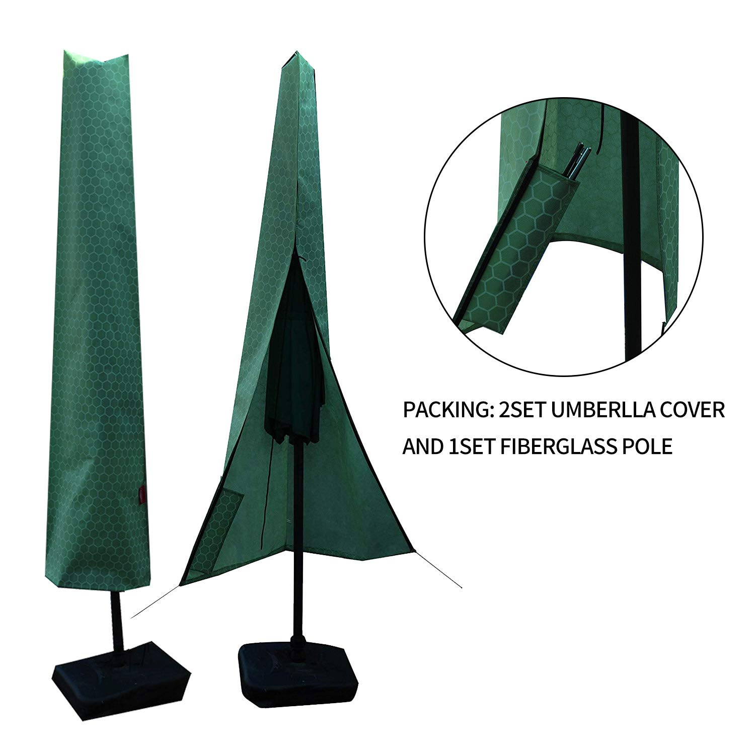 2set Umbrella Covers,Patio Waterproof Market Parasol Covers with Zipper for 8ft to 11ft Outdoor Umbrellas Large Included A Set Fiberglass Pole by acoveritt