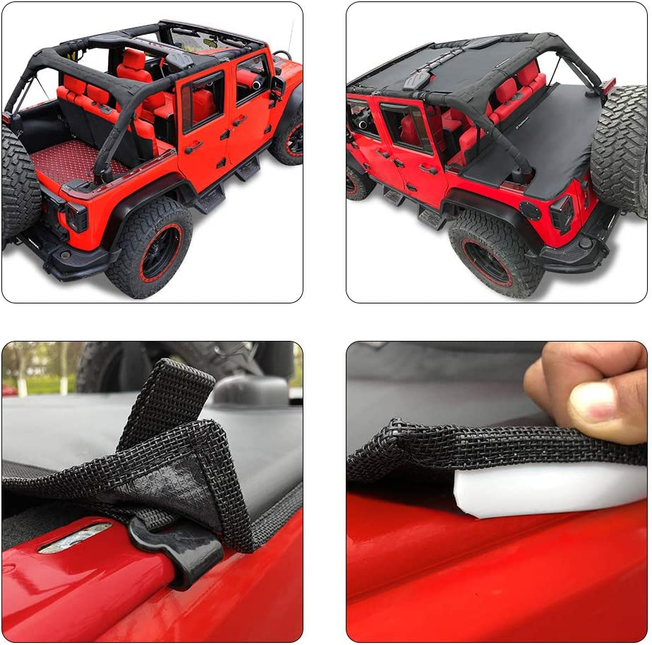 2018 - Current New Model Robicon Sahara Sport S Unlimited Tailgate-Black-3 Years Lasting Shadeidea Jeep Wrangler Tonneau Cover ● JL JLU 4 Door Rear Trunk Ton ● Cargo Vinyl Cover for