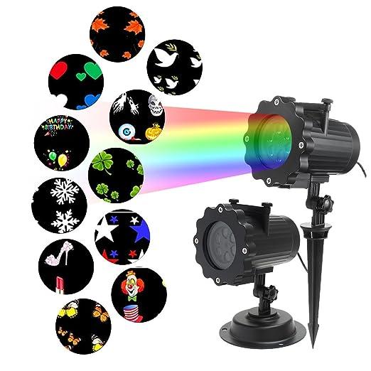 jeteven Proyector de luz LED con 12 diseños - luz exterior luz de ...