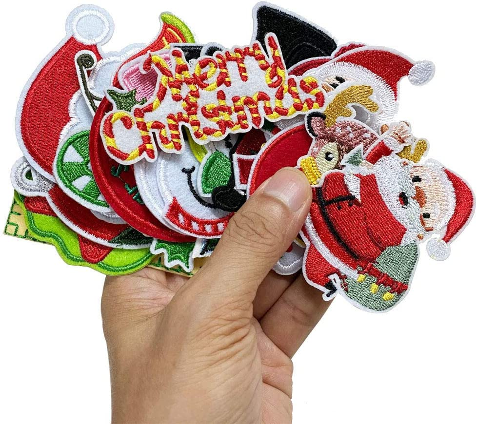 6x7cm 10pcs Christmas x/'mas Red Candy Cane holly bow Iron On Embroidered Patches Appliques Machine Embroidery Needlecraft Sewing crafts