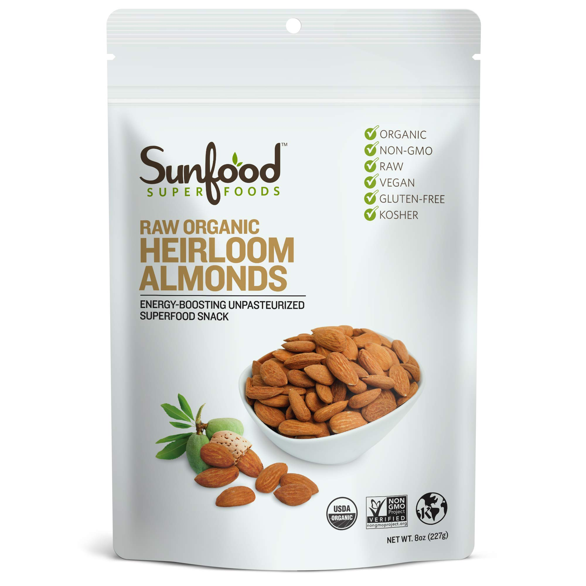 Sunfood Superfoods Heirloom Almonds - Raw, Shelled. Organic, Non-GMO. Never Treated with Heat for a Unique Natural Sweet Flavor. Unpasteurized. No Additives or Preservatives. 8 oz Bag