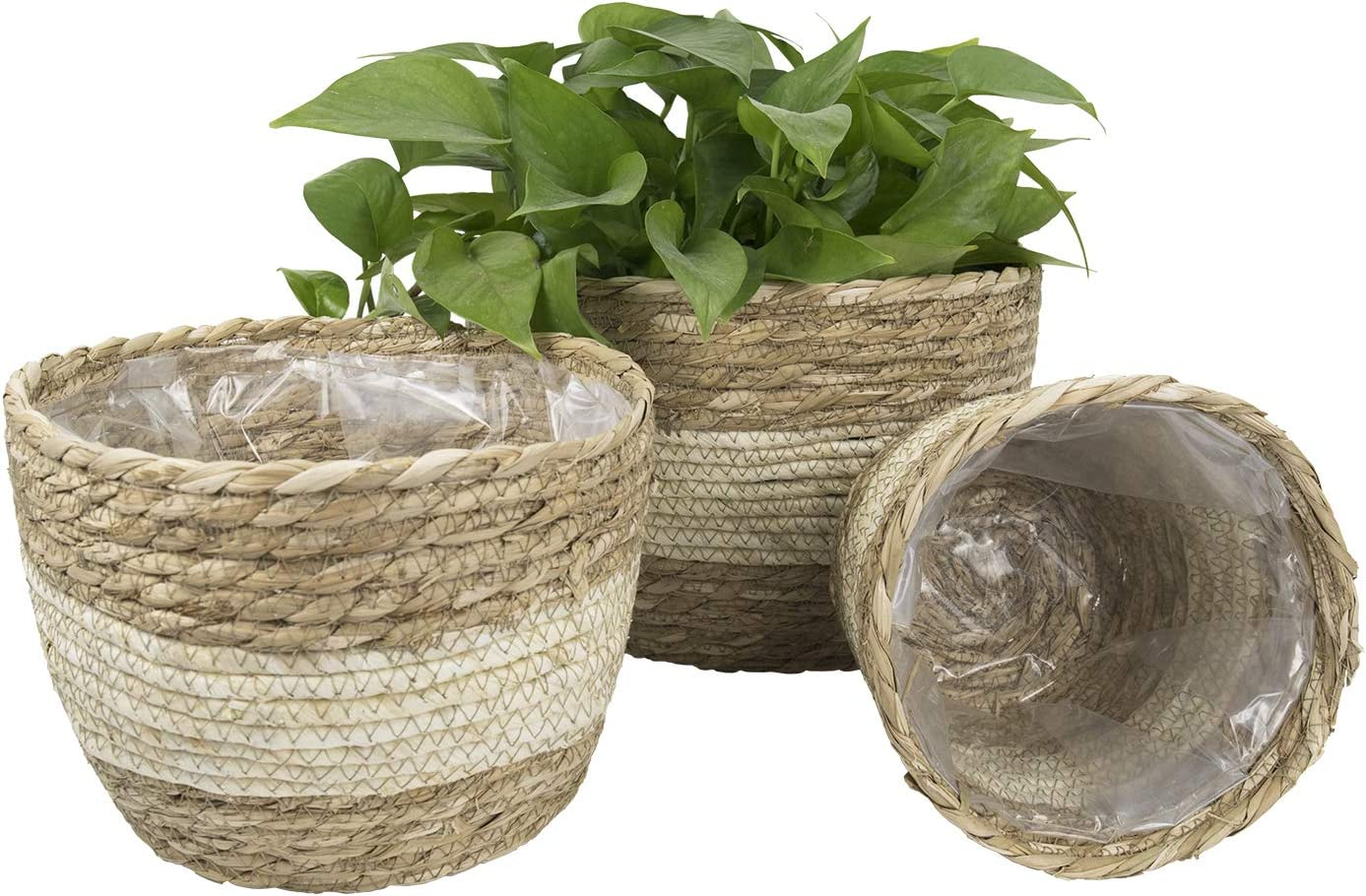 Seagrass Planter Basket Indoor Outdoor, Flower Pots Cover, Plant Containers, Beige, 10 inch