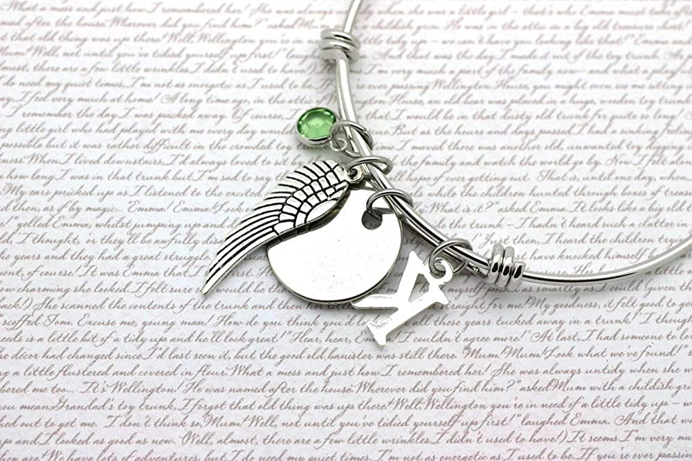 Feather Memory Gift Angel Wing Charm Bracelet Sympathy Gift Feathers Appear When Angels Are Near Bangle Gift for Grief Gift for Loss
