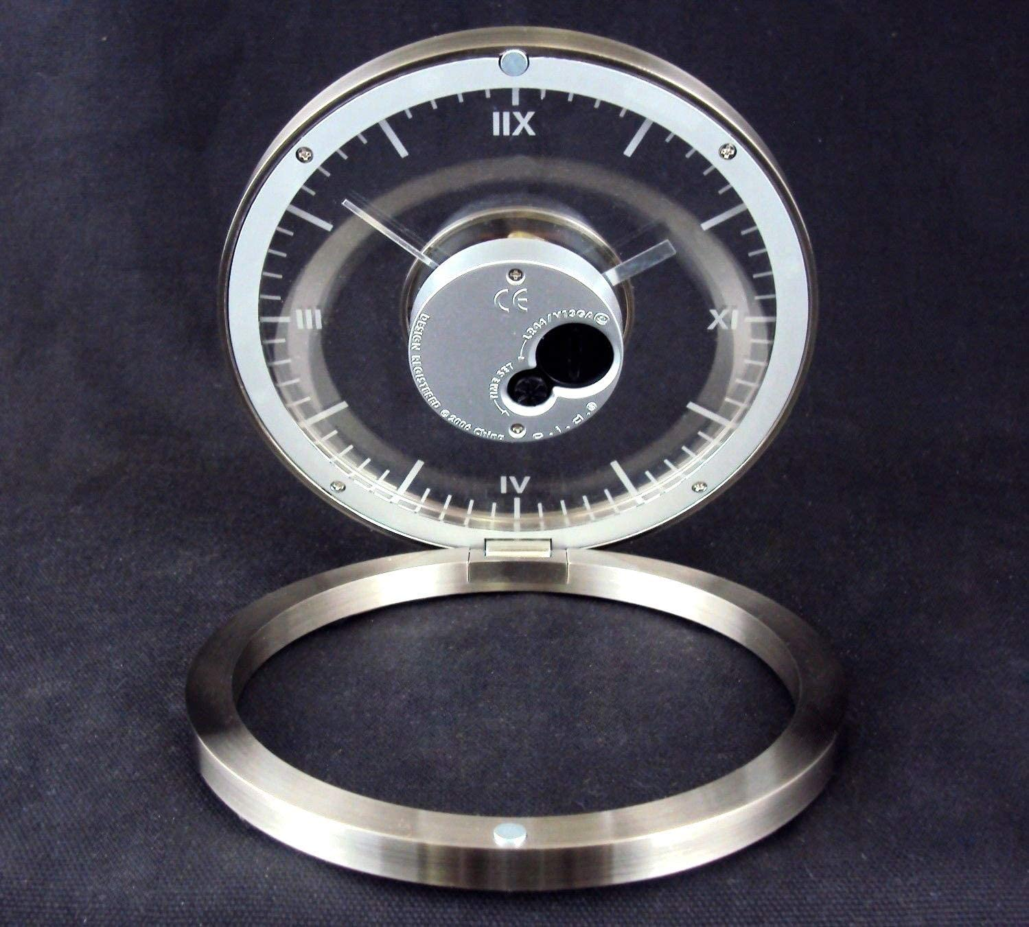 Desk Clock Analog Transparent Analog Clock Folding Round Aluminum Frame Office Desk Clock Closeoutservices Desk Clock