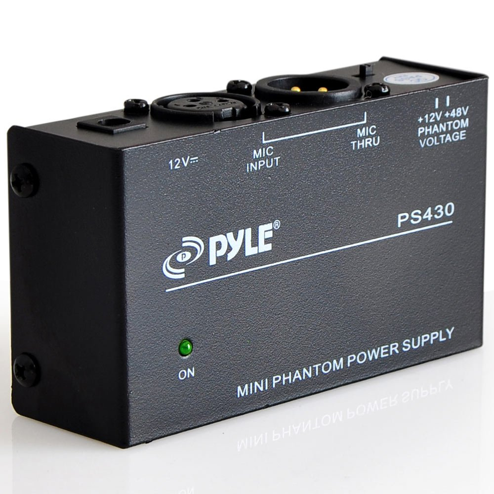 Universal Compact Phantom Power Supply - Selectable +12 / +48 Volt Regulated Single Channel Home Condenser Microphone Power Supply Box, Includes 12V DC Adapter, LED Indicator - Pyle PS430 by Pyle
