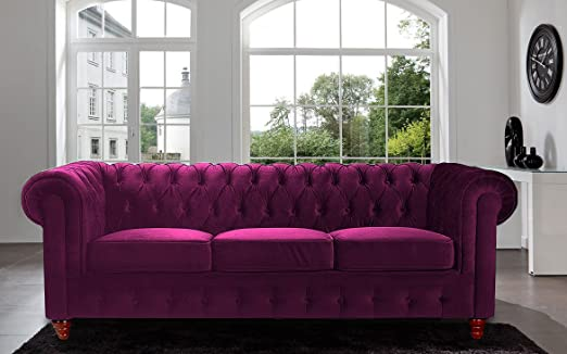Divano Roma Furniture Velvet Scroll Arm Tufted Button Chesterfield Style Sofa, Purple