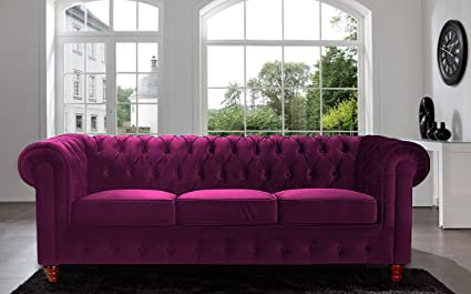 Charmant Divano Roma Furniture Velvet Scroll Arm Tufted Button Chesterfield Style  Sofa, Purple