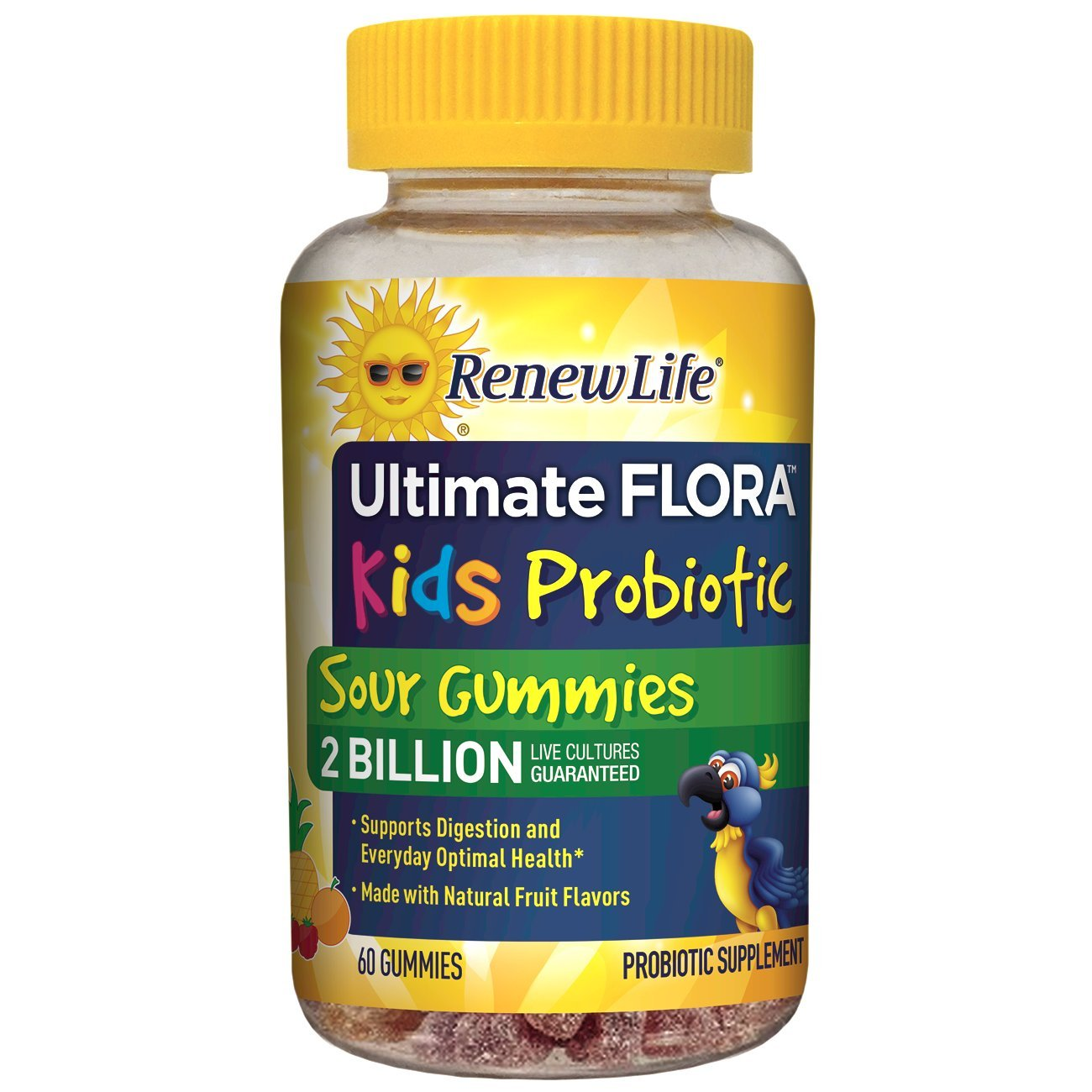 Renew Life - Ultimate Flora Probiotic Sour Gummies - probiotics for kids and adults - 60 chewable sour gummies