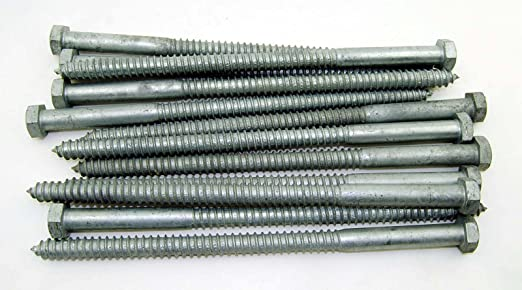 Amazon Com 10 Galvanized Hex Head 5 8 X 12 Lag Bolts Wood Screws Industrial Scientific
