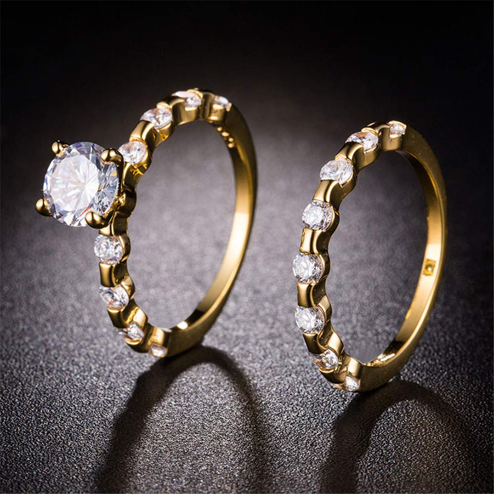 Huitan Vintage Statement Ring with Halo CZ Design,2 PC Cocktail Party Bridal Rings Set for Women