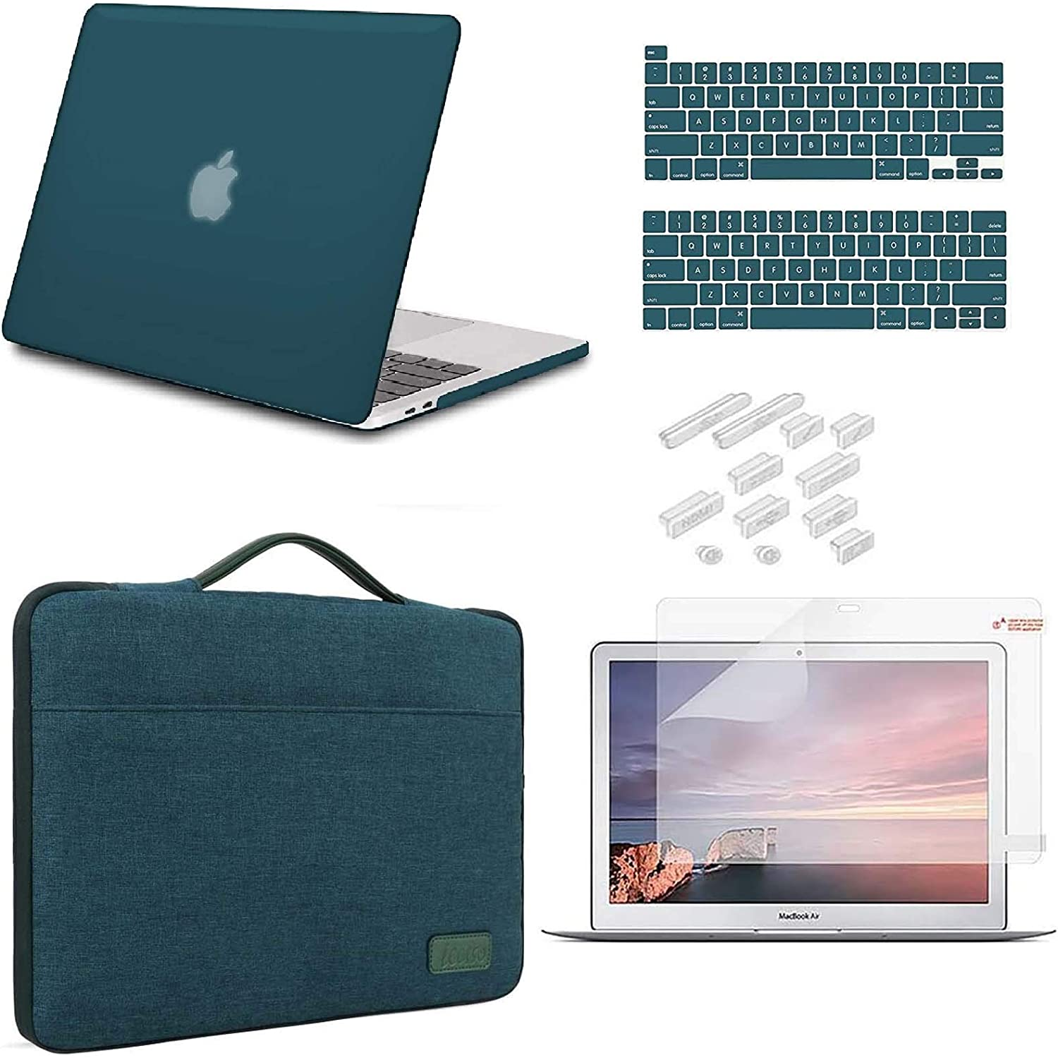 iCasso MacBook Pro 13 Inch Case 2020 Release Model A2338M1 /A2251/A2289 Bundle 5 in 1, Hard Shell Case, Sleeve, Screen Protector, Keyboard Cover&Dust Plug Compatible MacBook Pro 13'' -Dark Cyan