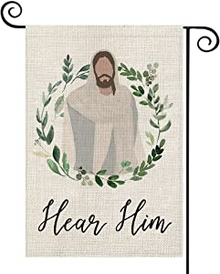 AVOIN colorlife Jesus Garden Flag Vertical Double Sided Hear Him, God Christian Passion Week Nativity Yard Outdoor Decoration 12.5 x 18 Inch
