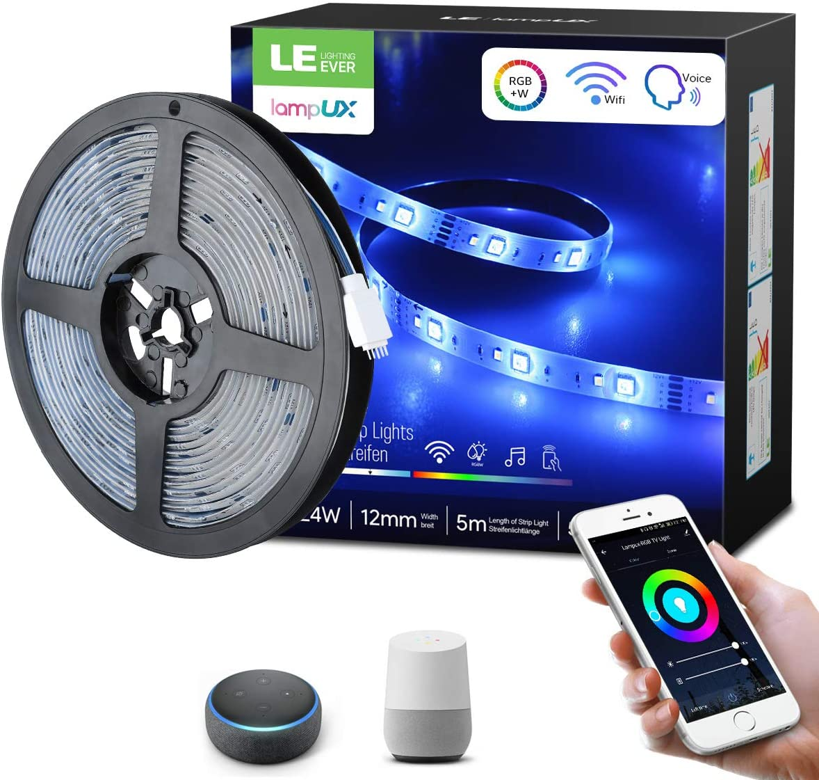 LE Alexa LED Strip Lights 3ft, RGBW Waterproof Smart WIFI Light Strip Kit  with App Remote Control, Dimmable Color Changing Wireless LED Tape Light