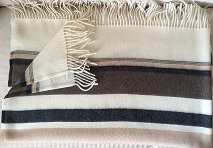 """ropa de ligera manta """"Toscana, a rayas beige marrón blanco y negro"""