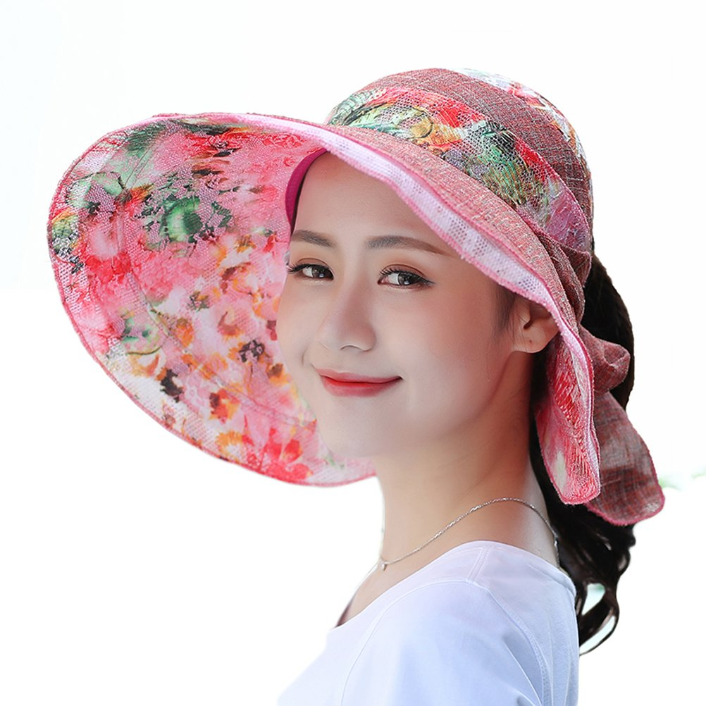 RIONA Women's Summer Sun Hat Foldable Visor Wide Brim Adjustable Nylon Buckle Packable UV Protection RISH1813Beige