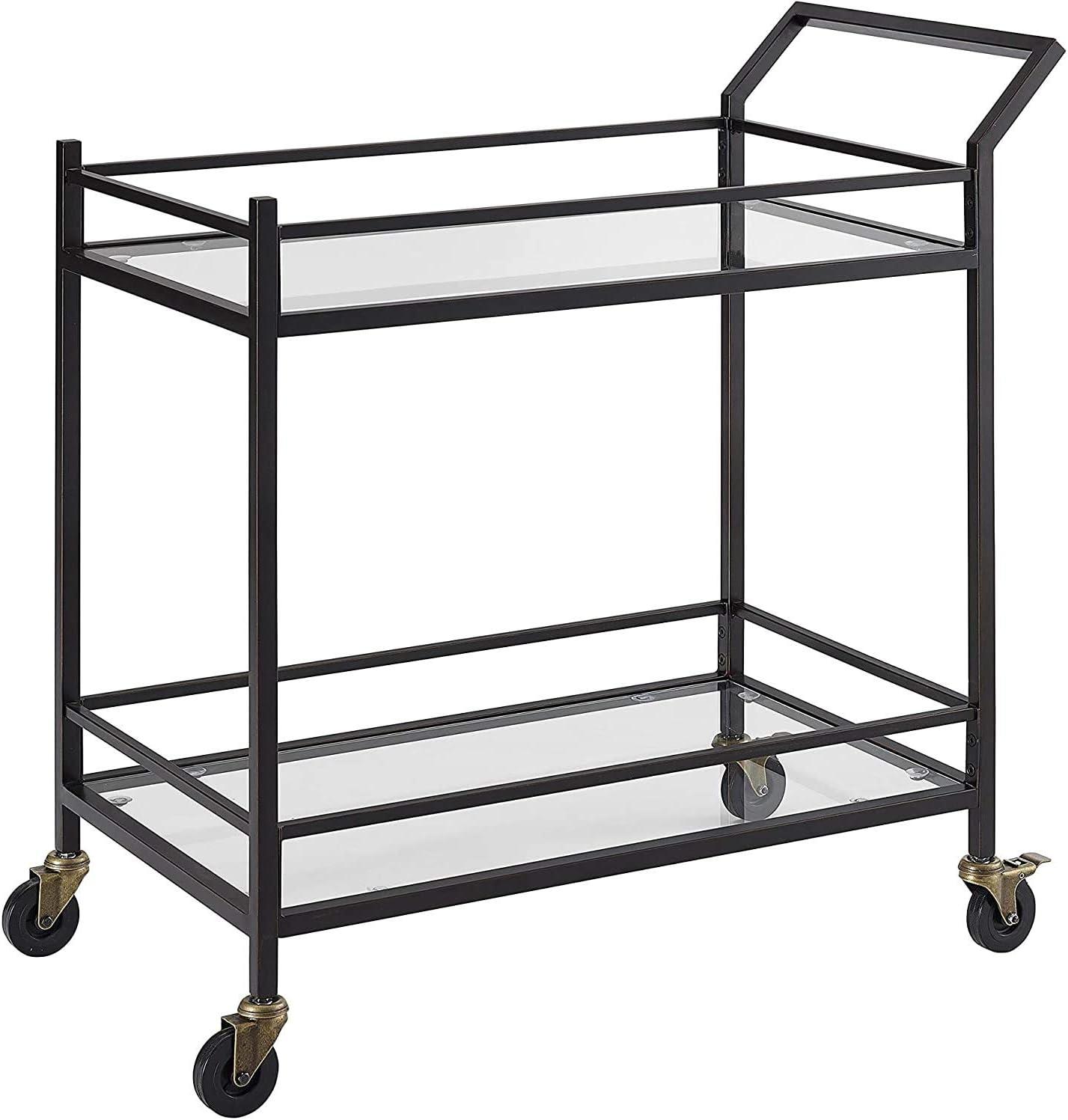 Crosley Furniture Aimee Rolling Bar Cart, Oil-Rubbed Bronze