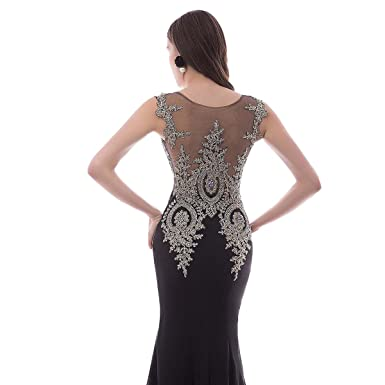 Sheer Bateau Long Mermaid Gold Lace Beaded Crystals Formal Prom Evening Dresses Black US 2