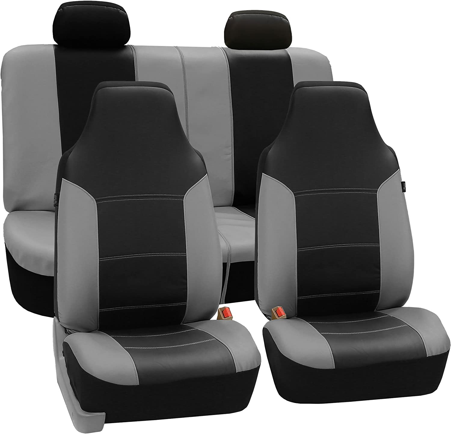 FH GROUP FH-PU103114 High Back Royal PU Leather Car Seat Covers Airbag & Split Gray/Black-Fit Most Car, Truck, SUV, or Van