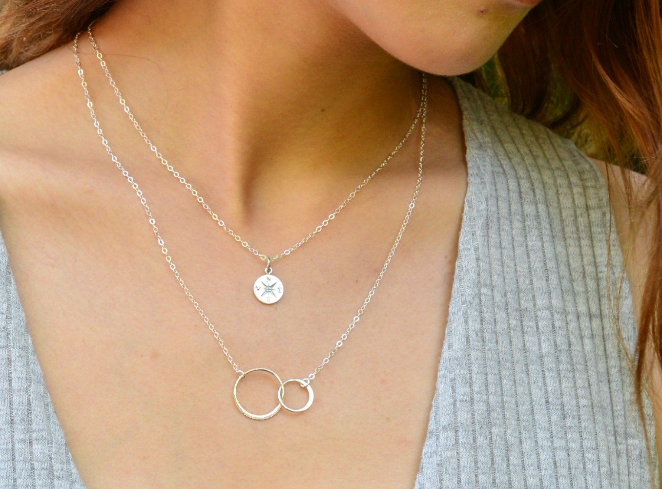 Necklace Gift for Girlfriend/Wife, Sterling Silver Cute I Love You Compass Heart Jewelry for Her, Valentines Day by Efy Tal Jewelry (Image #3)